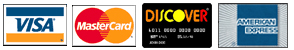 We accept, Visa, MasterCard, Discover, and American Express cards